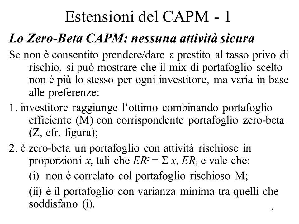 3 Estensioni del CAPM - 1 Lo Zero-Beta CAPM: nessuna attività sicura Se non è consentito prendere/dare a prestito al tasso privo di rischio, si può mo