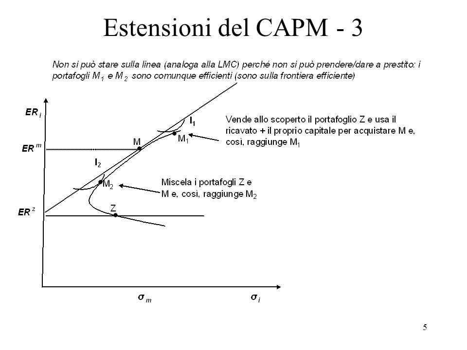 6 Estensioni del CAPM - 4 Diversi tassi creditori e debitori Riammettendo crediti e debiti, assumiamo che r B > r L (tasso debitore > tasso creditore = tasso privo di rischio), allora si può mostrare che il mix di portafoglio scelto differisce tra tipi di investitori (cfr.