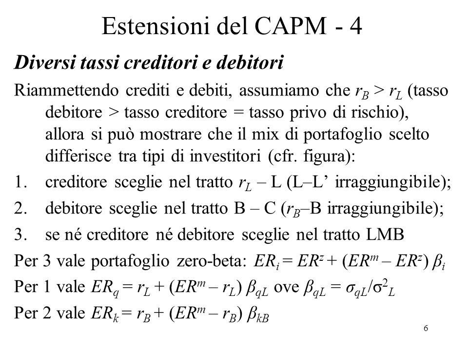6 Estensioni del CAPM - 4 Diversi tassi creditori e debitori Riammettendo crediti e debiti, assumiamo che r B > r L (tasso debitore > tasso creditore