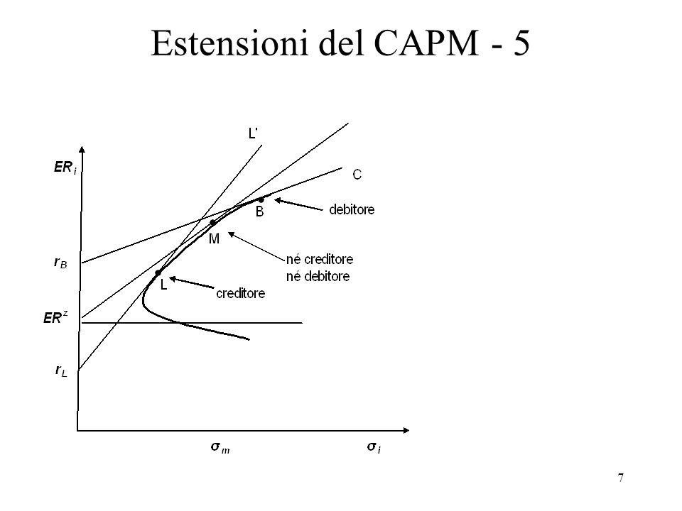 8 Estensioni del CAPM - 6 Altre estensioni Presenza di attività rischiose illiquide (cioè che non possono essere facilmente vendute sul mercato) è difficile modificare il CAPM per tenerne conto; Presenza di tasse e costi di transazione il CAPM può esser agevolmente modificato per tenerne conto; Aspettative eterogenee su rendimenti attesi, varianze e covarianze (violazione ipotesi di aspettative razionali) su può modificare il CAPM per tenerne conto solo con ipotesi molto restrittive sulla funzione di utilità; Inflazione (investitore si cura dei rendimenti reali) il CAPM può esser agevolmente modificato per tenerne conto.