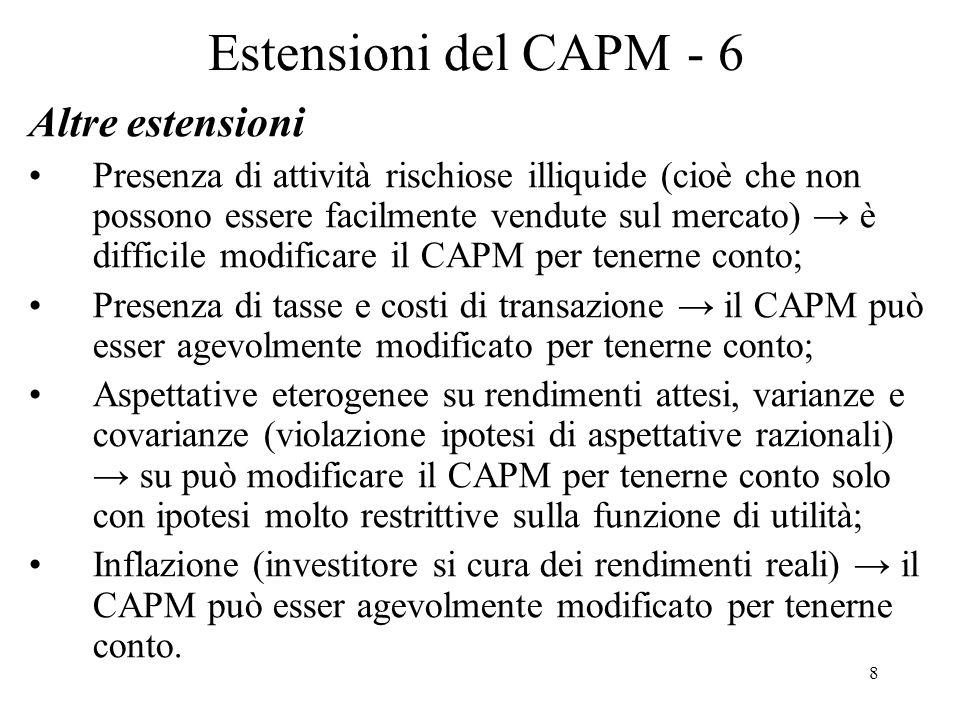 8 Estensioni del CAPM - 6 Altre estensioni Presenza di attività rischiose illiquide (cioè che non possono essere facilmente vendute sul mercato) è dif