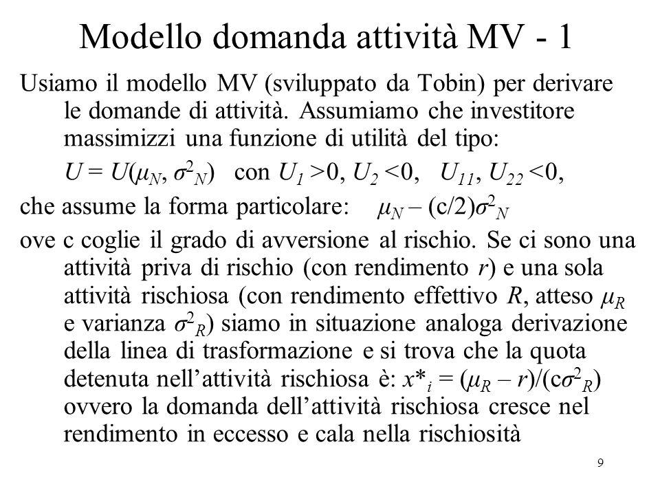 9 Modello domanda attività MV - 1 Usiamo il modello MV (sviluppato da Tobin) per derivare le domande di attività. Assumiamo che investitore massimizzi