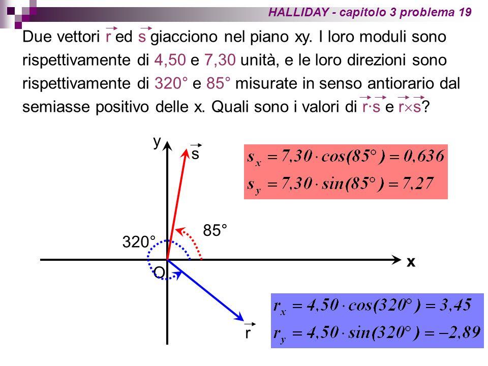 Prodotto scalare: Alternativamente, possiamo calcolare langolo minore di 180° fra i due vettori e sfruttare la definizione di prodotto scalare.