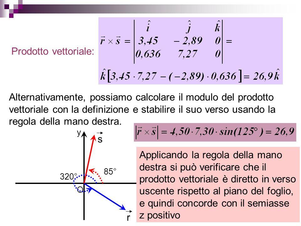 Prodotto vettoriale: Alternativamente, possiamo calcolare il modulo del prodotto vettoriale con la definizione e stabilire il suo verso usando la rego
