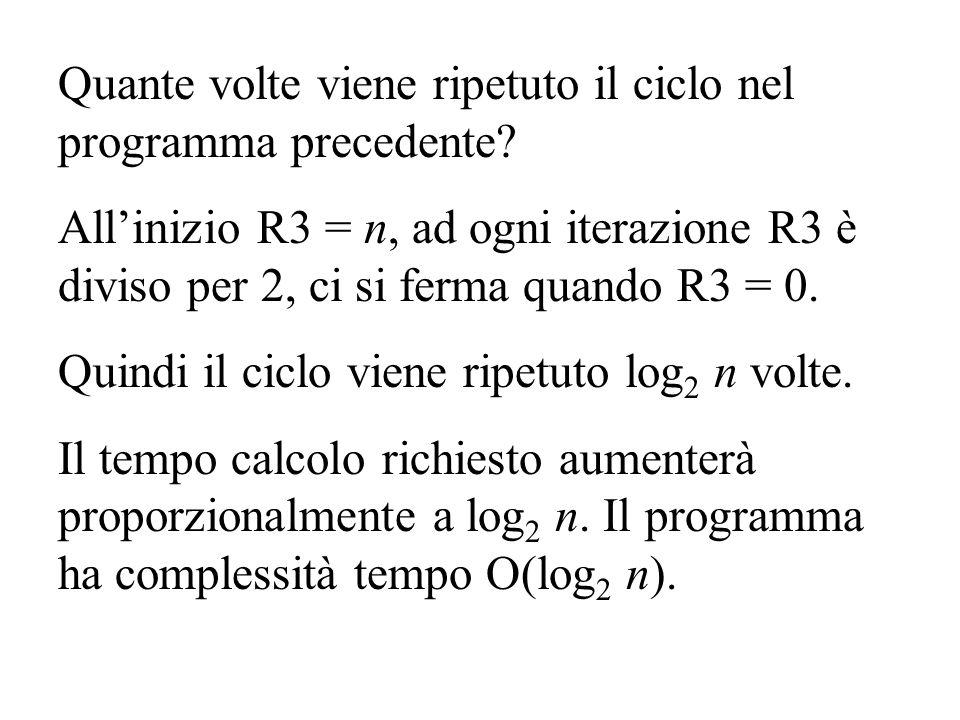 Quante volte viene ripetuto il ciclo nel programma precedente? Allinizio R3 = n, ad ogni iterazione R3 è diviso per 2, ci si ferma quando R3 = 0. Quin