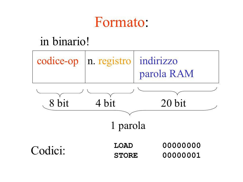 esempio scriviamo un programma macchina che: trasferisce il contenuto di 2 parole di indirizzo 64 e 68 della RAM nei registri R 0 ed R 1 li somma trasferisce la somma nella parola di indirizzo 60 della RAM