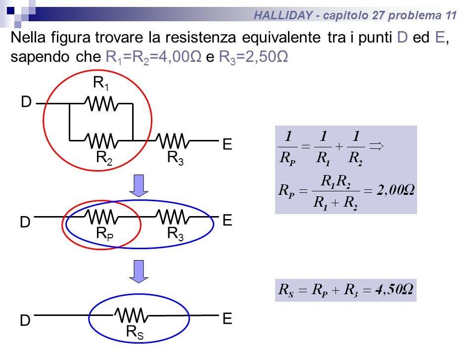 HALLIDAY - capitolo 27 problema 11 Nella figura trovare la resistenza equivalente tra i punti D ed E, sapendo che R 1 =R 2 =4,00Ω e R 3 =2,50Ω D E R1R