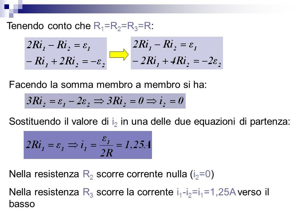 Tenendo conto che R 1 =R 2 =R 3 =R: Facendo la somma membro a membro si ha: Sostituendo il valore di i 2 in una delle due equazioni di partenza: Nella