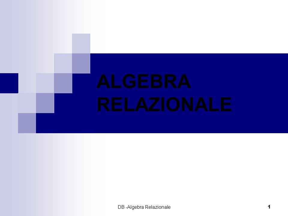 DB -Algebra Relazionale2 LINGUAGGI PER MODELLI RELAZIONALI Algebrici: una query è definita da unespressione algebrica sulle relazioni dello schema Logici: una query è definita da una formula della logica del primo ordine