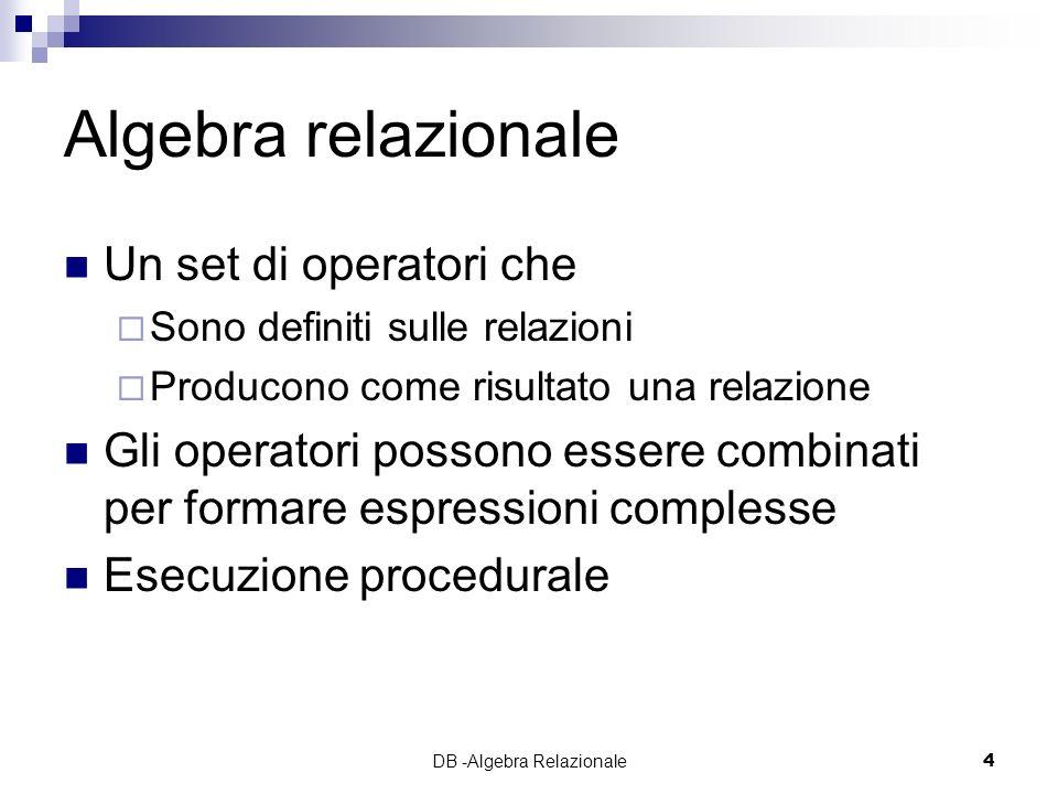 DB -Algebra Relazionale45 Esercizio 5 Trovare numero e nome dei responsabili i cui impiegati guadagnano TUTTI piu di 40 mila euro
