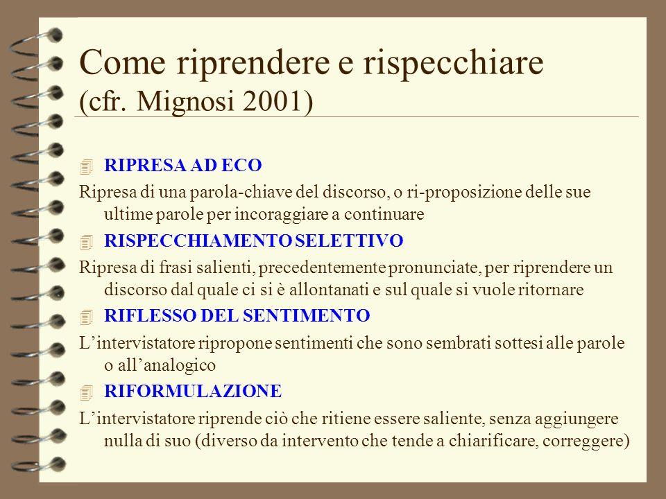 Come riprendere e rispecchiare (cfr. Mignosi 2001) 4 RIPRESA AD ECO Ripresa di una parola-chiave del discorso, o ri-proposizione delle sue ultime paro