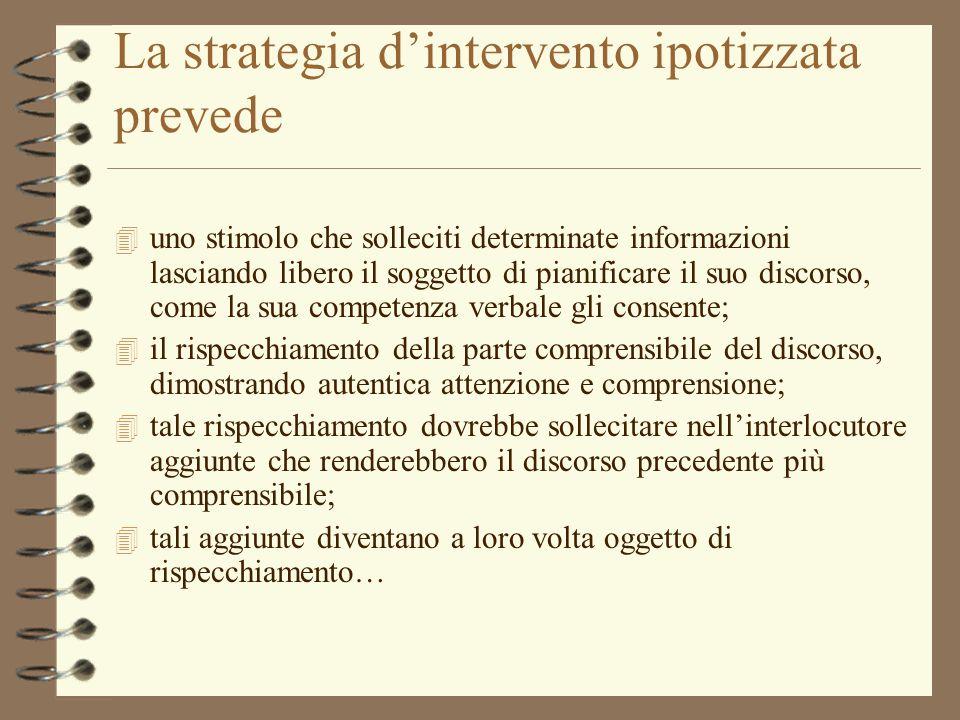 La strategia dintervento ipotizzata prevede 4 uno stimolo che solleciti determinate informazioni lasciando libero il soggetto di pianificare il suo di