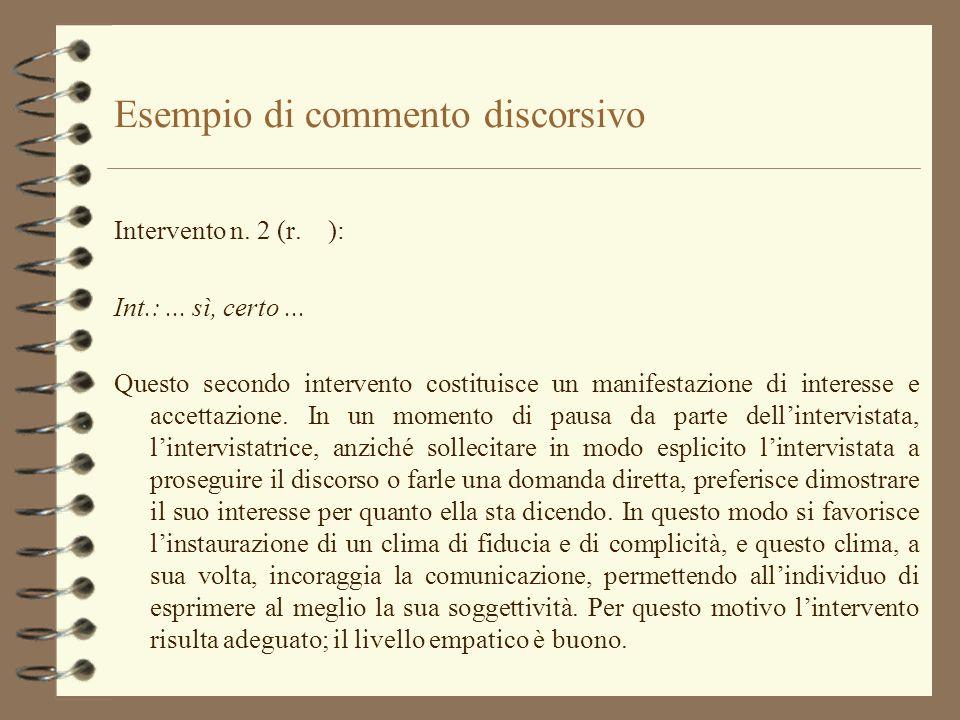 Esempio di commento discorsivo Intervento n. 2 (r. ): Int.:... sì, certo... Questo secondo intervento costituisce un manifestazione di interesse e acc