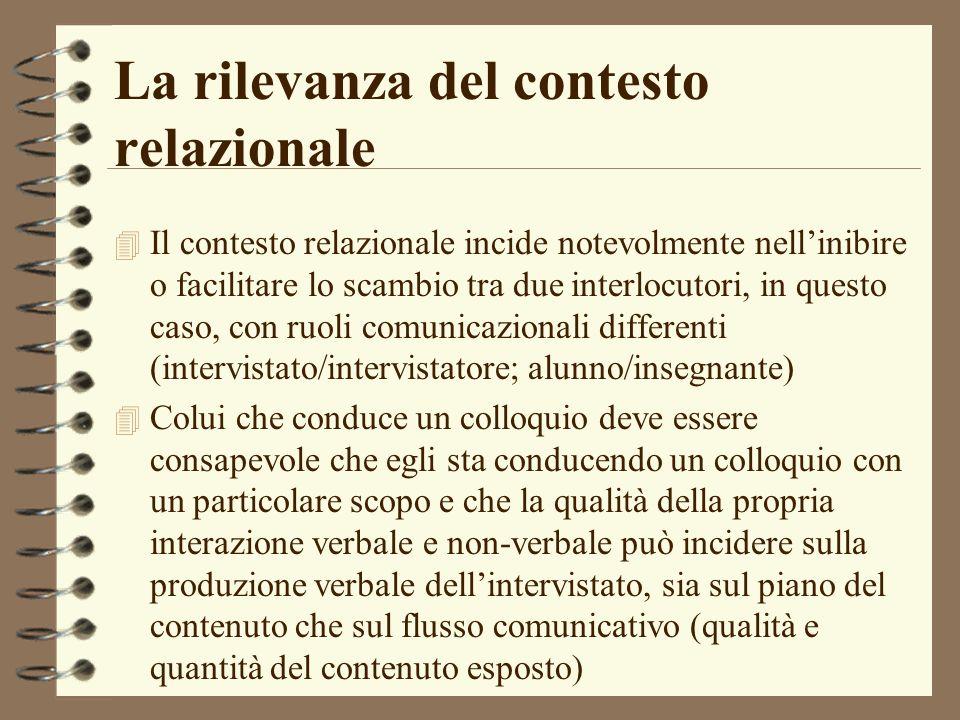 La rilevanza del contesto relazionale 4 Il contesto relazionale incide notevolmente nellinibire o facilitare lo scambio tra due interlocutori, in ques