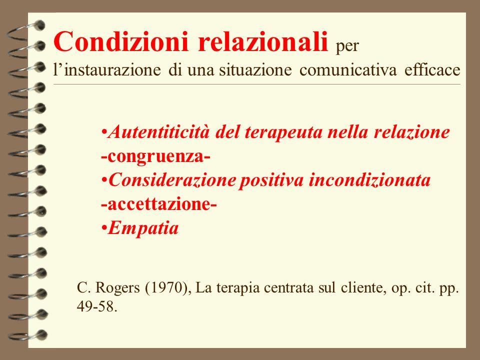 Condizioni relazionali per linstaurazione di una situazione comunicativa efficace Autentiticità del terapeuta nella relazione -congruenza- Considerazi