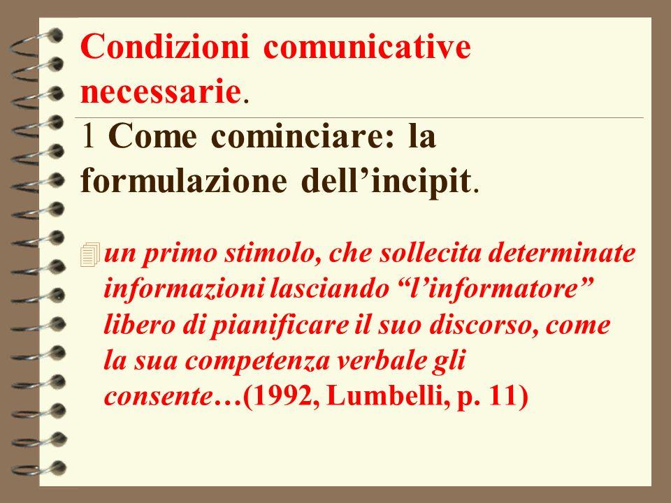 Condizioni comunicative necessarie. 1 Come cominciare: la formulazione dellincipit. 4 un primo stimolo, che sollecita determinate informazioni lascian
