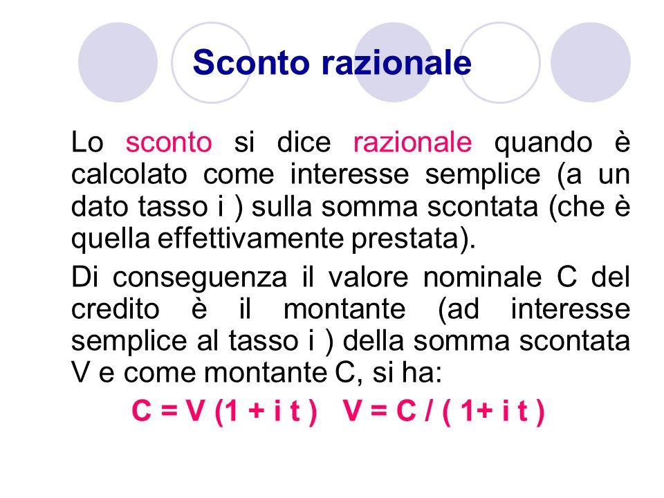 Lo sconto si dice razionale quando è calcolato come interesse semplice (a un dato tasso i ) sulla somma scontata (che è quella effettivamente prestata