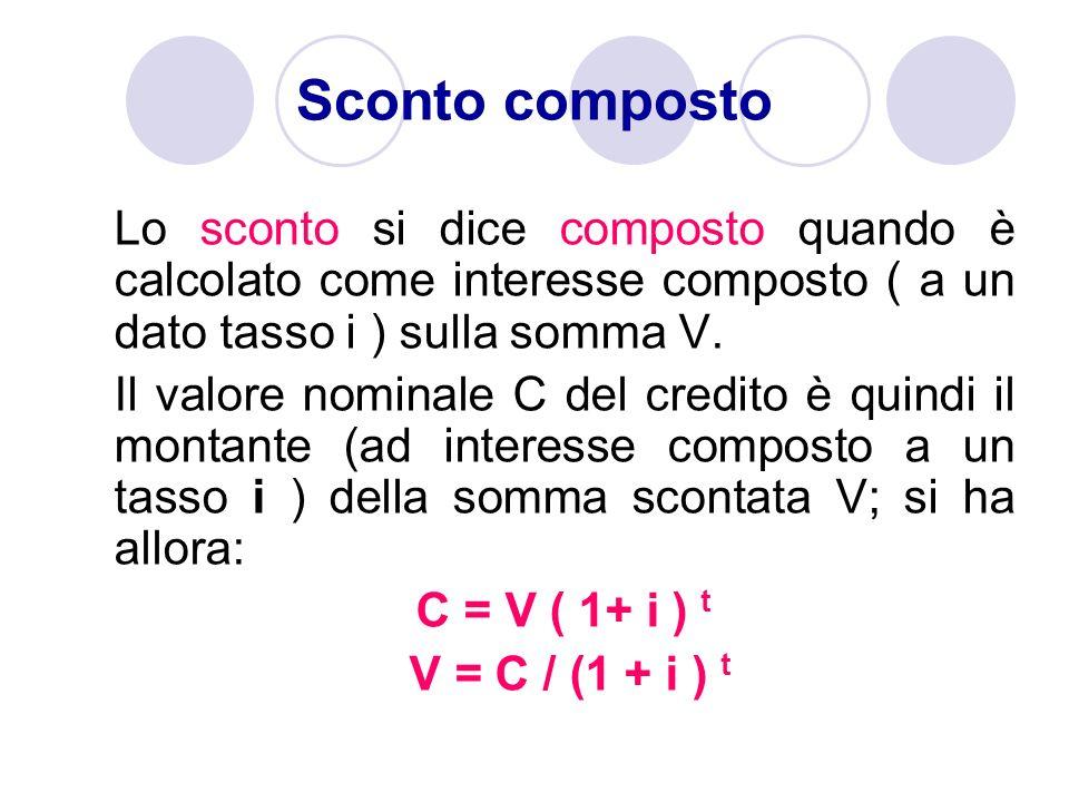 Lo sconto si dice composto quando è calcolato come interesse composto ( a un dato tasso i ) sulla somma V. Il valore nominale C del credito è quindi i