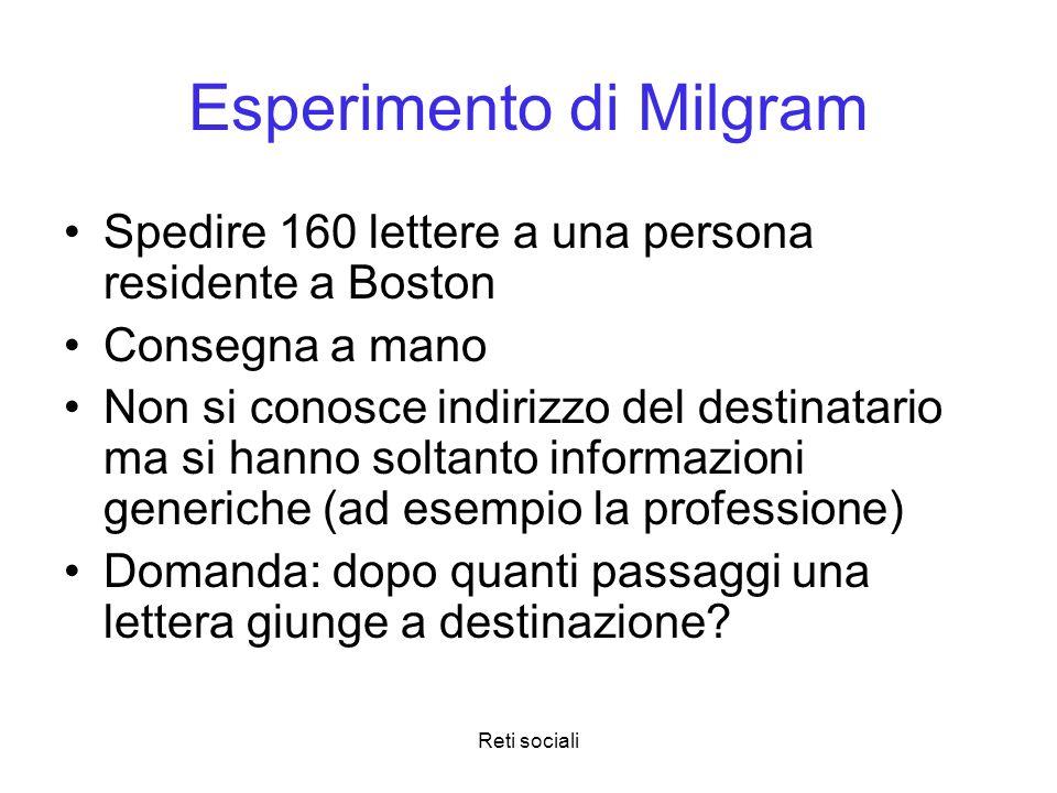Reti sociali Esperimento di Milgram Spedire 160 lettere a una persona residente a Boston Consegna a mano Non si conosce indirizzo del destinatario ma