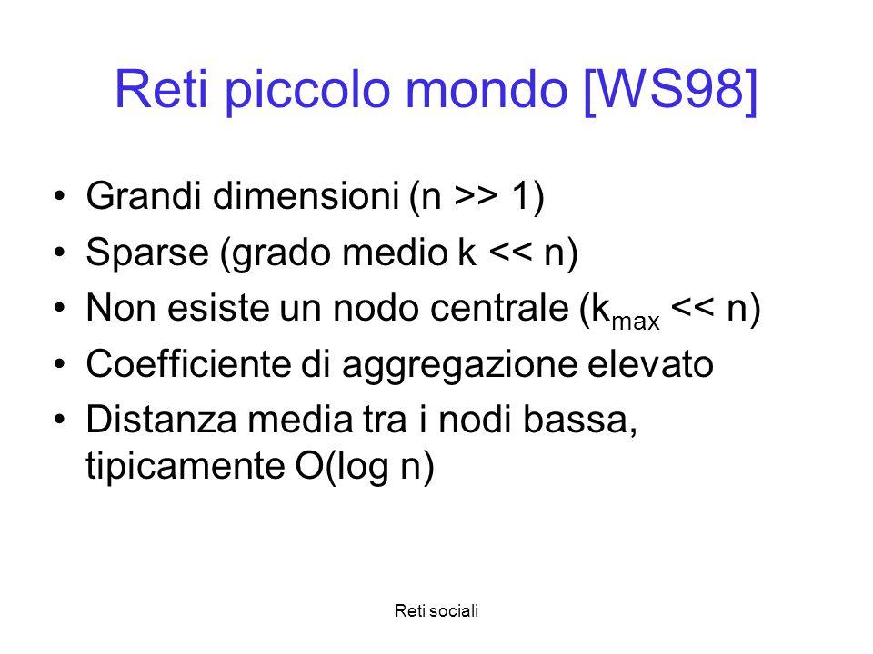 Reti sociali Reti piccolo mondo [WS98] Grandi dimensioni (n >> 1) Sparse (grado medio k << n) Non esiste un nodo centrale (k max << n) Coefficiente di