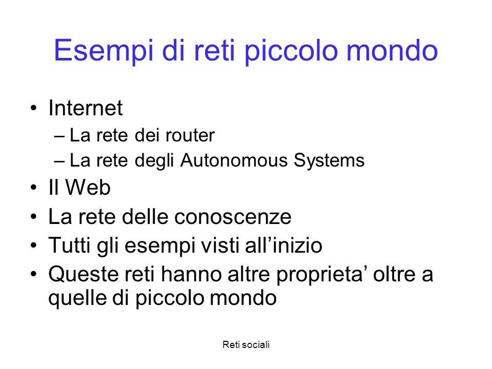 Reti sociali Esempi di reti piccolo mondo Internet –La rete dei router –La rete degli Autonomous Systems Il Web La rete delle conoscenze Tutti gli ese