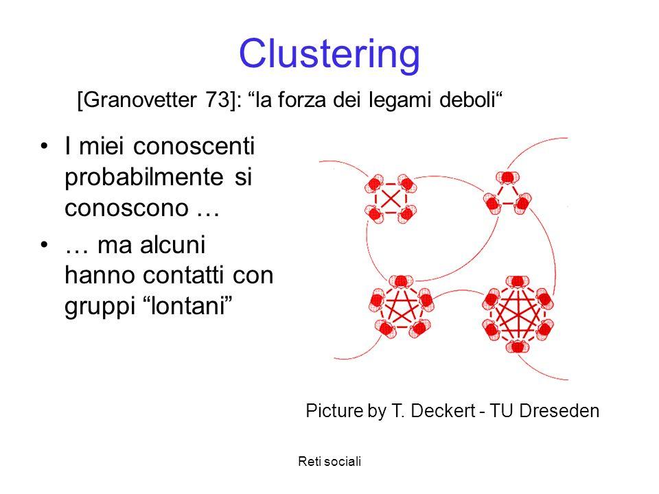 Reti sociali Clustering I miei conoscenti probabilmente si conoscono … … ma alcuni hanno contatti con gruppi lontani Picture by T. Deckert - TU Dresed