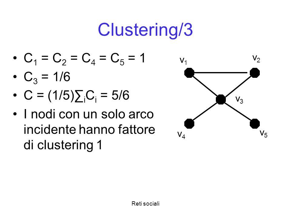 Reti sociali Clustering/3 C 1 = C 2 = C 4 = C 5 = 1 C 3 = 1/6 C = (1/5) i C i = 5/6 I nodi con un solo arco incidente hanno fattore di clustering 1 v1