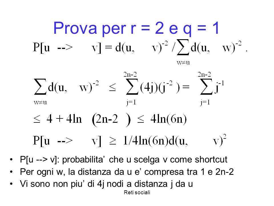 Reti sociali Prova per r = 2 e q = 1 P[u --> v]: probabilita che u scelga v come shortcut Per ogni w, la distanza da u e compresa tra 1 e 2n-2 Vi sono