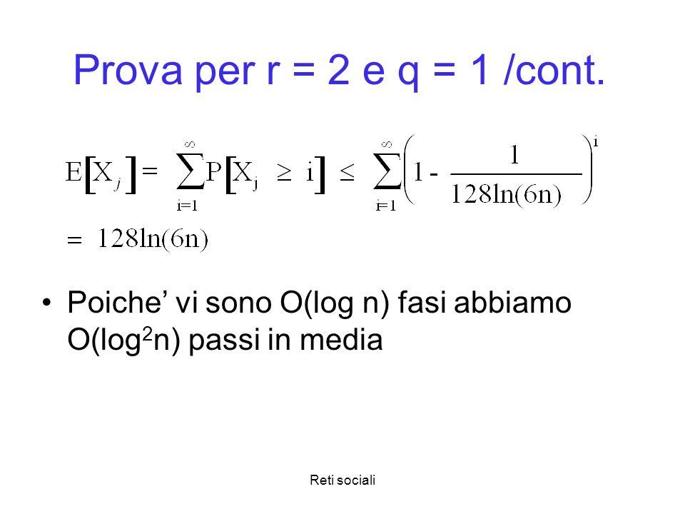 Reti sociali Prova per r = 2 e q = 1 /cont. Poiche vi sono O(log n) fasi abbiamo O(log 2 n) passi in media