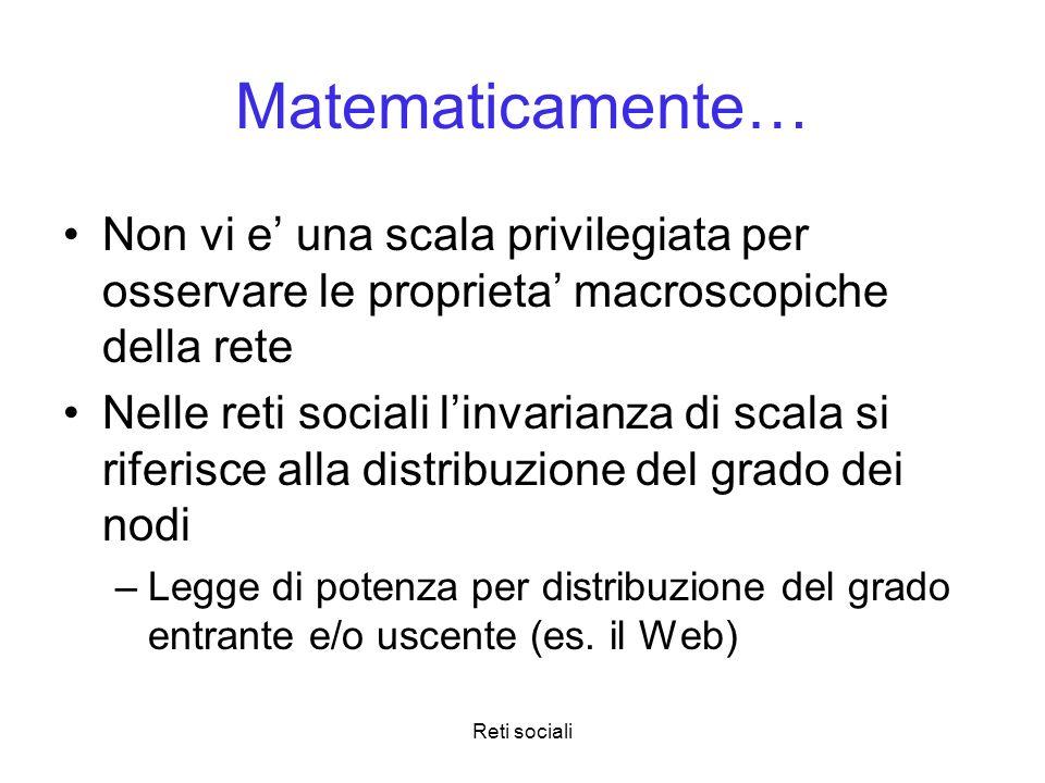 Reti sociali Matematicamente… Non vi e una scala privilegiata per osservare le proprieta macroscopiche della rete Nelle reti sociali linvarianza di sc
