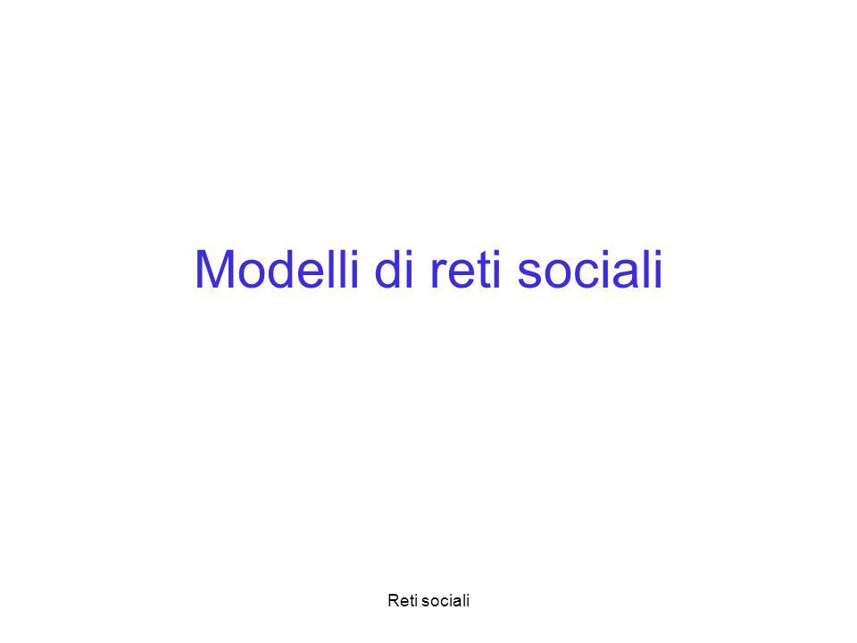 Reti sociali Modelli di reti sociali