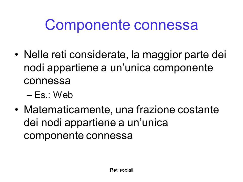 Reti sociali Componente connessa Nelle reti considerate, la maggior parte dei nodi appartiene a ununica componente connessa –Es.: Web Matematicamente,