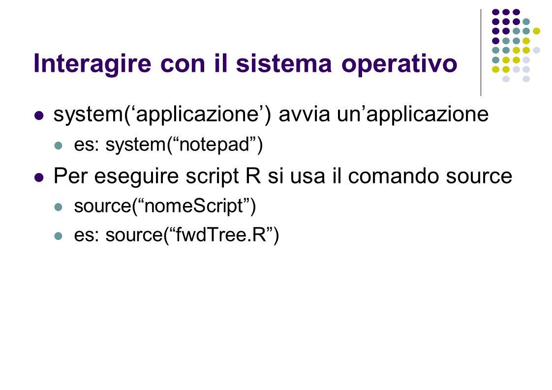Interagire con il sistema operativo system(applicazione) avvia unapplicazione es: system(notepad) Per eseguire script R si usa il comando source source(nomeScript) es: source(fwdTree.R)