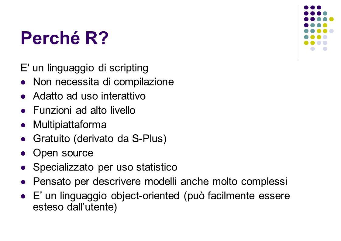 Help di R Lhelp di R è molto potente help() - indicazioni su come usare lhelp help(comando) – oppure ?comando help help() – usare le parentesi!!.