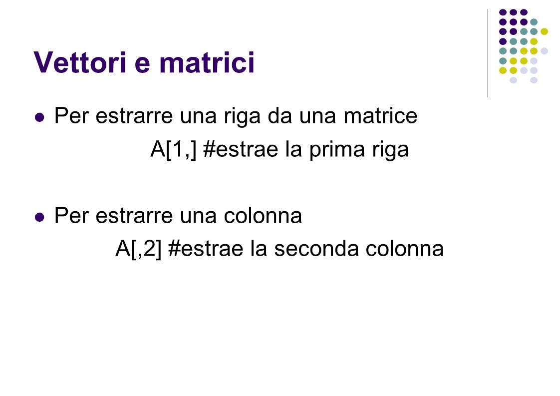 Vettori e matrici Per estrarre una riga da una matrice A[1,] #estrae la prima riga Per estrarre una colonna A[,2] #estrae la seconda colonna