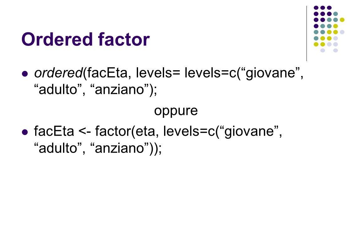 Ordered factor ordered(facEta, levels= levels=c(giovane, adulto, anziano); oppure facEta <- factor(eta, levels=c(giovane, adulto, anziano));
