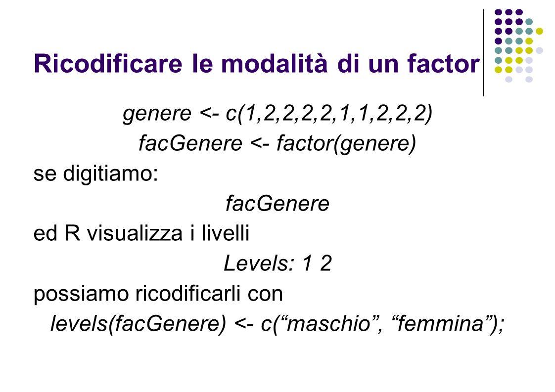 Ricodificare le modalità di un factor genere <- c(1,2,2,2,2,1,1,2,2,2) facGenere <- factor(genere) se digitiamo: facGenere ed R visualizza i livelli Levels: 1 2 possiamo ricodificarli con levels(facGenere) <- c(maschio, femmina);