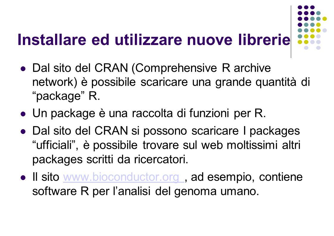 Installare ed utilizzare nuove librerie Dal sito del CRAN (Comprehensive R archive network) è possibile scaricare una grande quantità di package R.