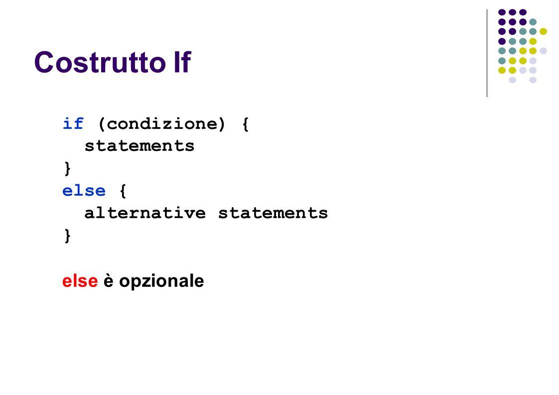 Costrutto If if (condizione) { statements } else { alternative statements } else è opzionale