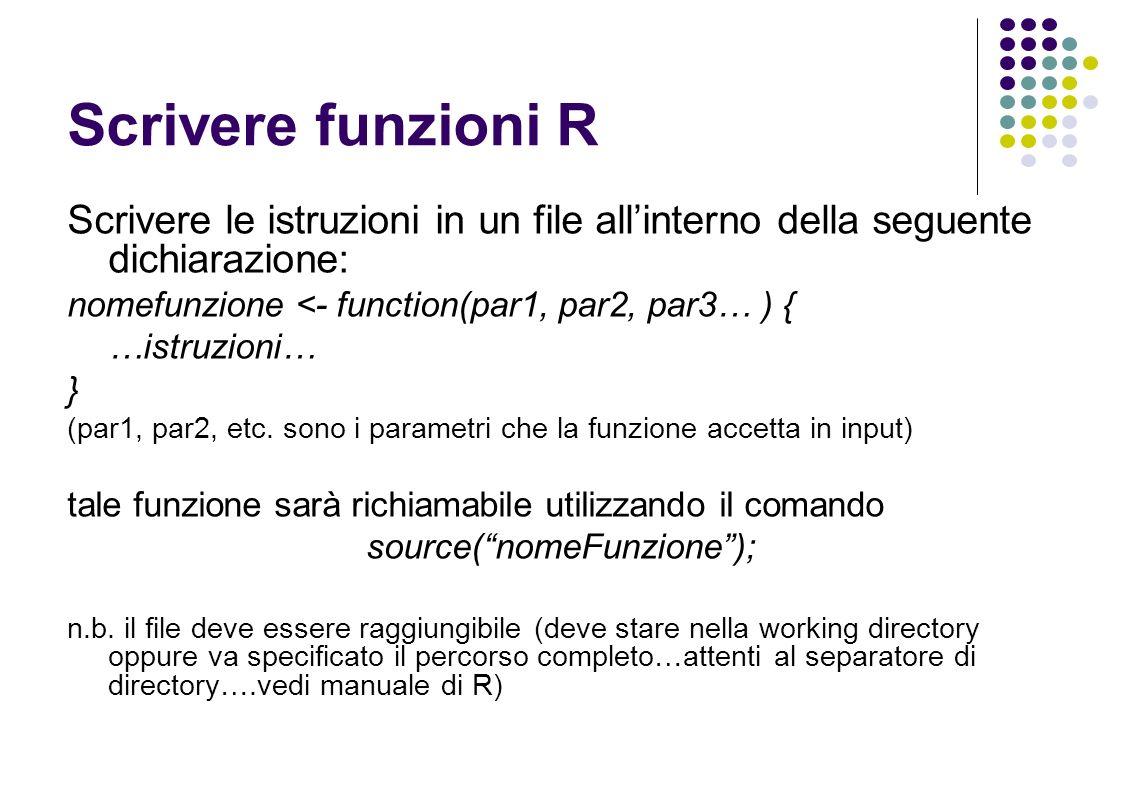 Scrivere funzioni R Scrivere le istruzioni in un file allinterno della seguente dichiarazione: nomefunzione <- function(par1, par2, par3… ) { …istruzioni… } (par1, par2, etc.