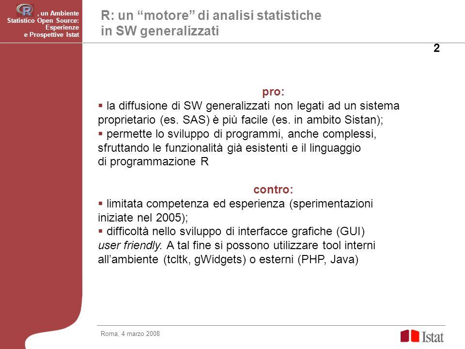 R: un motore di analisi statistiche in SW generalizzati pro: la diffusione di SW generalizzati non legati ad un sistema proprietario (es.