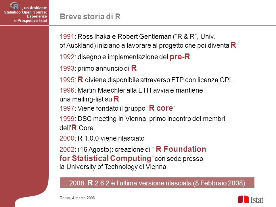 Roma, 4 marzo 2008 Breve storia di R, un Ambiente Statistico Open Source: Esperienze e Prospettive Istat 1991: Ross Ihaka e Robert Gentleman (R & R, Univ.