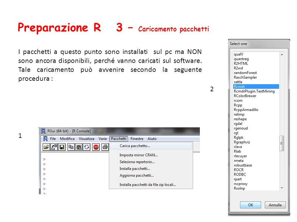 Preparazione R 3 – Caricamento pacchetti I pacchetti a questo punto sono installati sul pc ma NON sono ancora disponibili, perché vanno caricati sul s