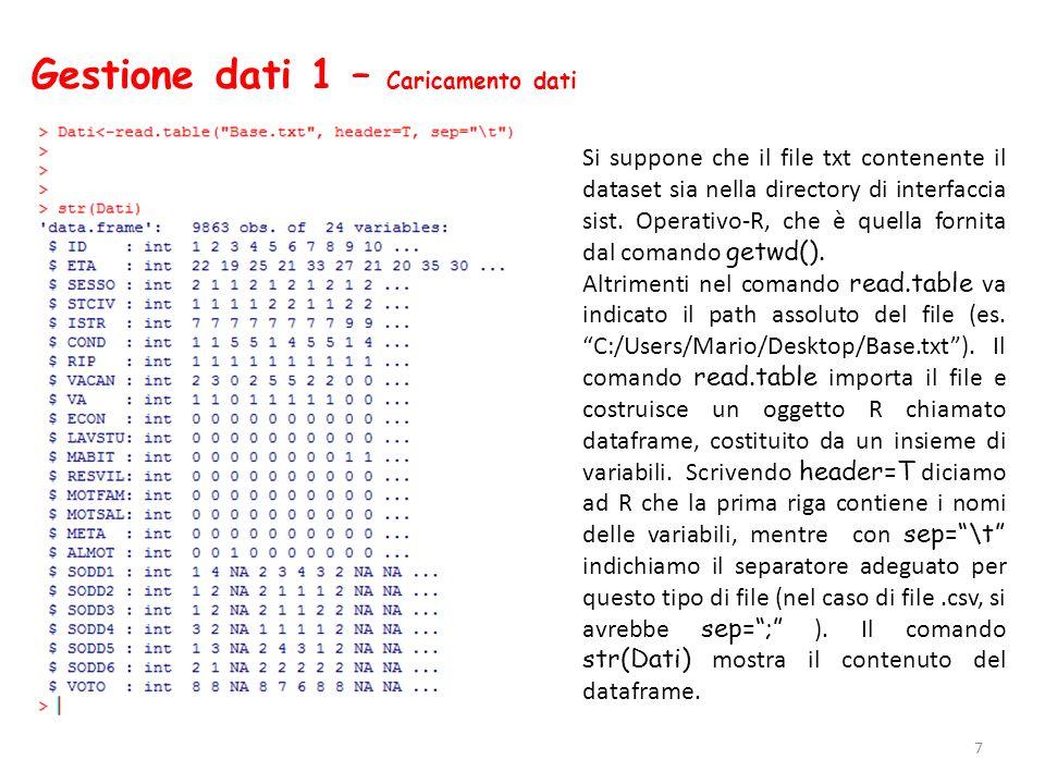 Gestione dati 1 – Caricamento dati 7 Si suppone che il file txt contenente il dataset sia nella directory di interfaccia sist. Operativo-R, che è quel
