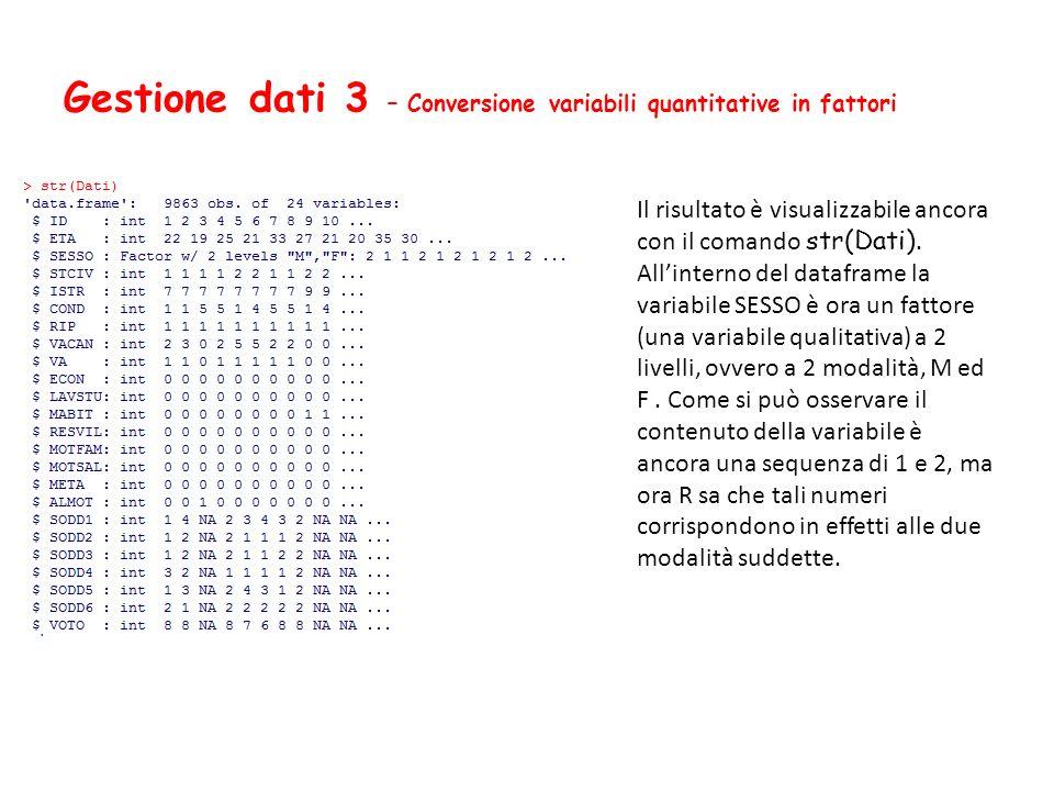 Gestione dati 3 – Conversione variabili quantitative in fattori Il risultato è visualizzabile ancora con il comando str(Dati). Allinterno del datafram
