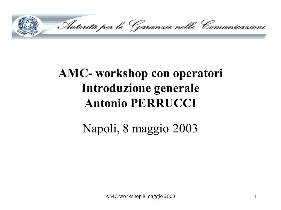 AMC workshop 8 maggio 20031 AMC- workshop con operatori Introduzione generale Antonio PERRUCCI Napoli, 8 maggio 2003