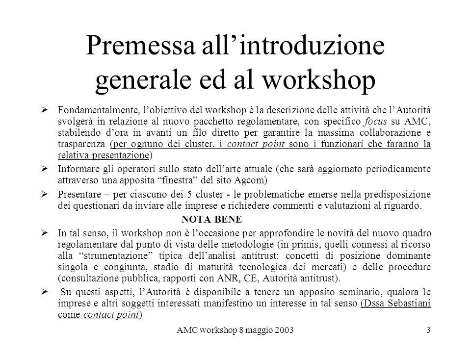 AMC workshop 8 maggio 20034 Il nuovo quadro regolamentare comunitario in materia di Comunicazioni Elettroniche Dopo un processo durato alcuni anni (Review 99), nellaprile 2002 è stato varato il nuovo pacchetto di norme per i mercati delle C.E.