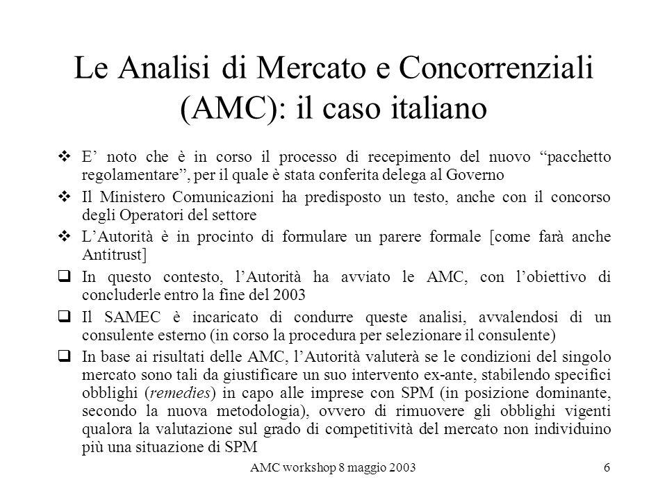 AMC workshop 8 maggio 20037 I mercati sottoposti ad analisi LAutorità ha valutato, per il momento, di limitare lanalisi alle 18 aree di mercato definite nella raccomandazione dell11 febbraio u.s.
