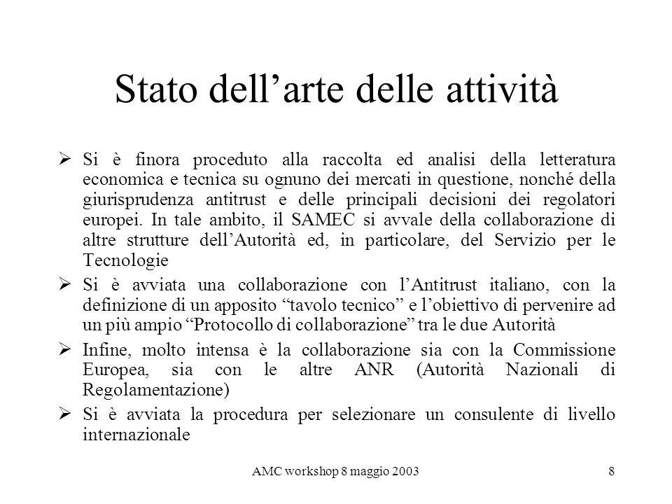 AMC workshop 8 maggio 20038 Stato dellarte delle attività Si è finora proceduto alla raccolta ed analisi della letteratura economica e tecnica su ognu