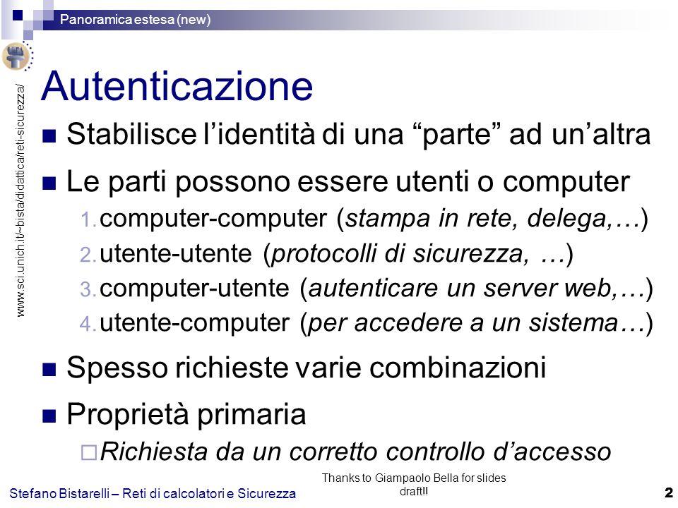www.sci.unich.it/~bista/didattica/reti-sicurezza/ Panoramica estesa (new) 13 Stefano Bistarelli – Reti di calcolatori e Sicurezza Thanks to Giampaolo Bella for slides draft!.